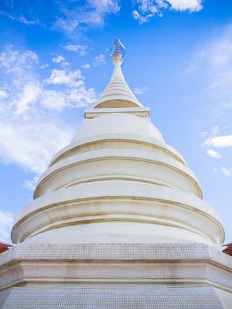pra: Thai style pagoda of Wat Pra Dhat Pha Ngao Temple Chiang Rai Thailand made of White Mosaic