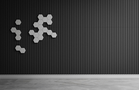 wall decor: empty room with hextagon decor on wall 3d rendering