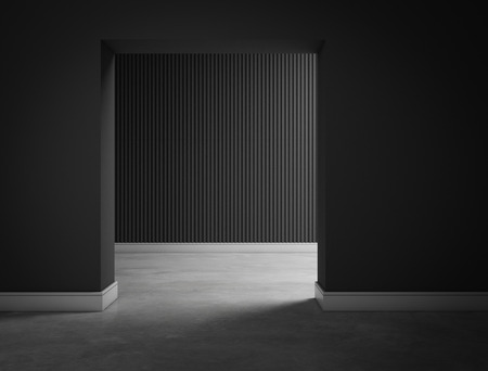 flooring design: empty dark black room hall 3d rendering