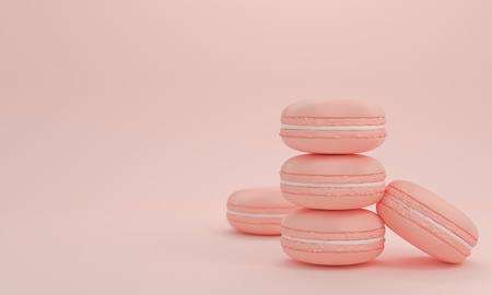 color 3d: pastel color macaron sweet  cake with copy space pink rose color 3d rendering