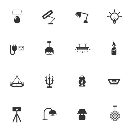 strobe light: artificial light lamp icon set vector