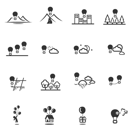 gift accident: balloon and hot air balloon icon set vector Illustration