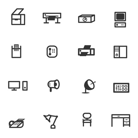 co operation: business office equipment icon set