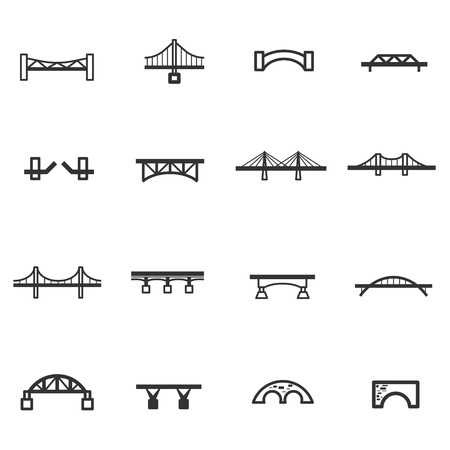 across: bridge line icon set vector Illustration