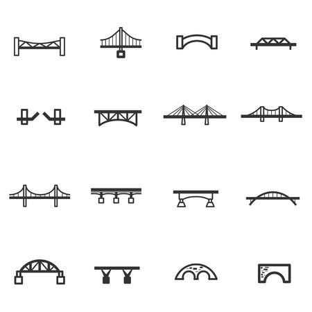 línea de puente icono conjunto de vectores