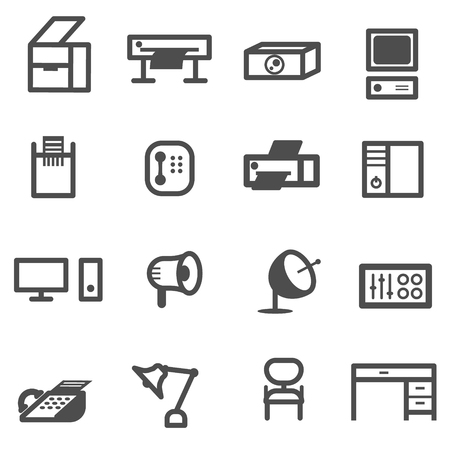 business office equipment icon set