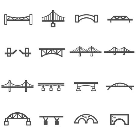 rope bridge: bridge line icon set vector Illustration