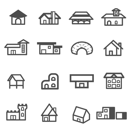 house home residential icon set vector