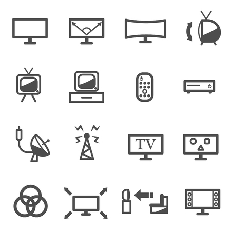tv television technology icon set vector