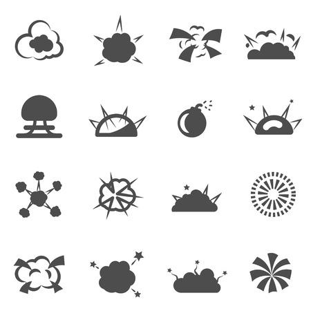 splinter: explosion bomb smoke destruction icon set vector Illustration