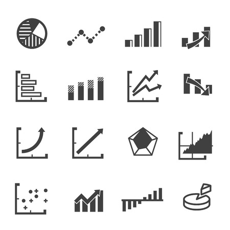 exponential: Business graph icon set vector Illustration