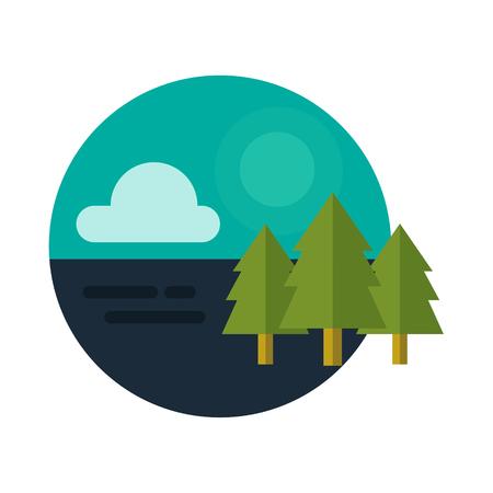 Tree forest logo icon badge vector Illustration