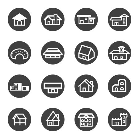 colonial house: house home residential icon set vector Illustration
