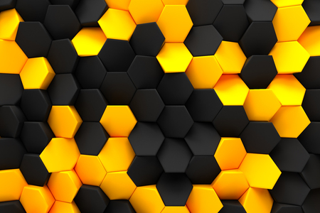 abstract hexagon black bee hive modern technology background 3d render