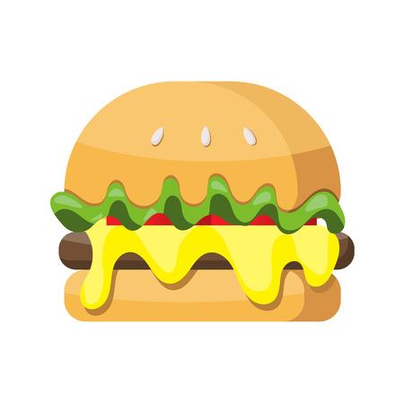 Hamburger flat icon vector isolated on white background Illustration