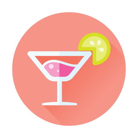 cocktail drink alcohol flat icon with long shadow