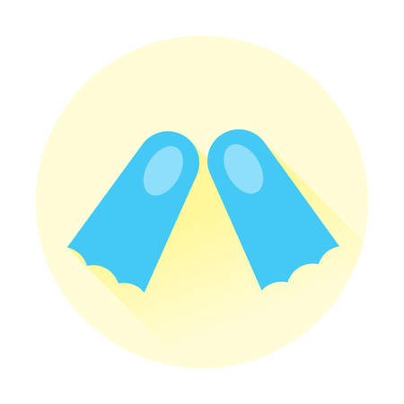 scuba diving shoes beach flat icon with long shadow Illustration