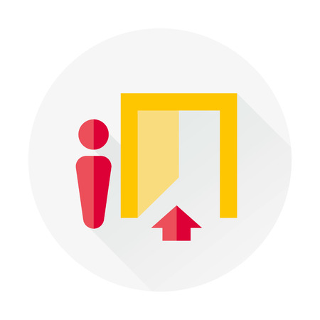 exit out flat icon with long shadow Illustration