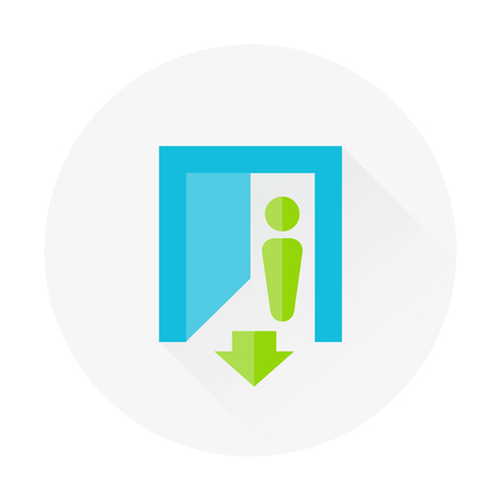 way out: enter in flat icon with long shadow Illustration