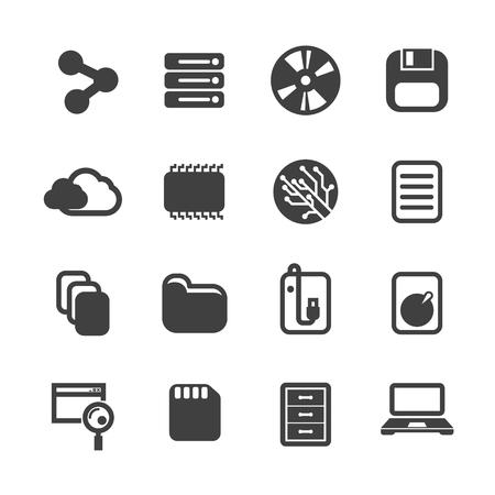 Data technology storage digital device icon set vector