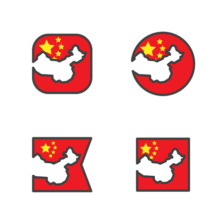 china flag with country map shape cut vector