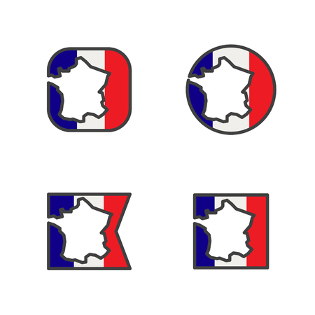 france flag with country map shape cut vector