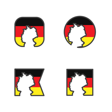 germany flag with country map shape cut vector