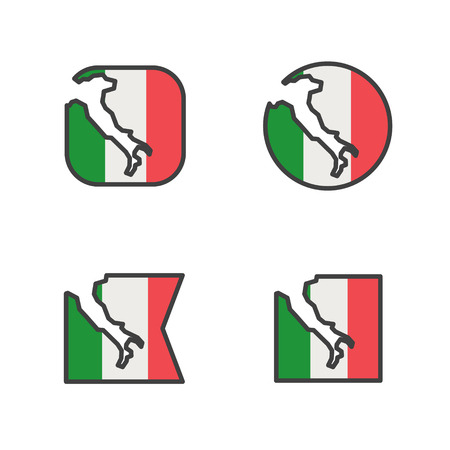 italy flag with country map shape cut vector