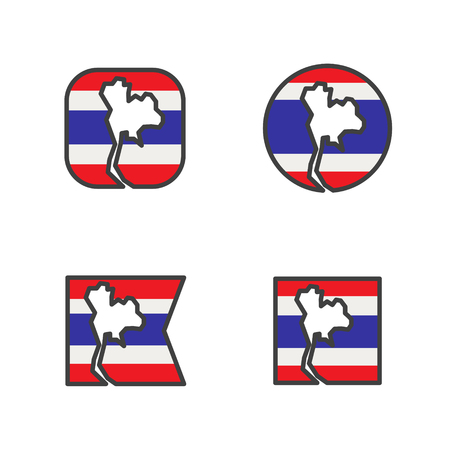 thailand flag with country map shape cut vector