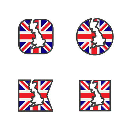 england flag with country map shape cut vector