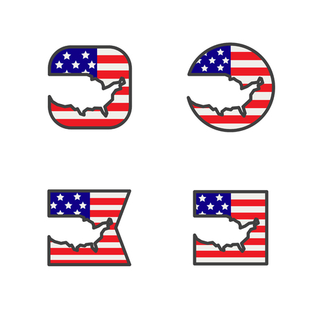 usa flag with country map shape cut vector