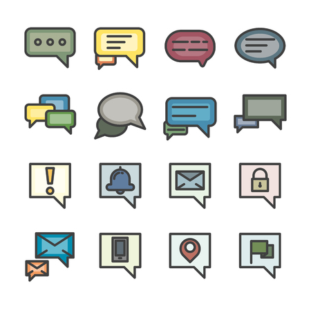chat box conversation talk line icon set vector  vintage style color