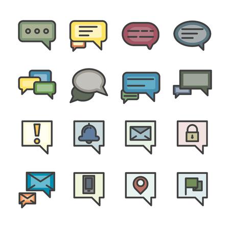 chat box conversation talk line icon set vector  vintage style color
