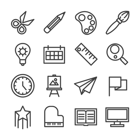 creative idea study workshop line icon set vector