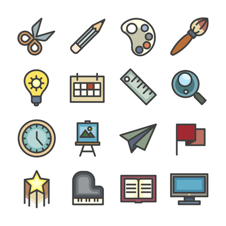 creative idea study workshop line icon set vector vintage style color
