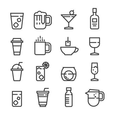 drink alcohol coffee softdrink juice line icon set vector