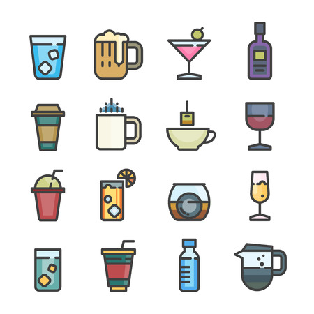 drink alcohol coffee softdrink juice line icon set vector vintage style color