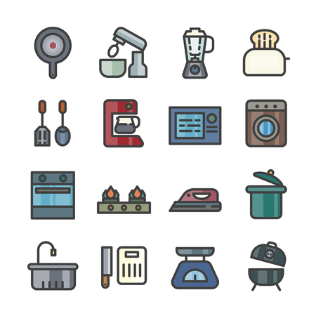 household appliances icons kitchen tool thin line icon set vector Ilustração