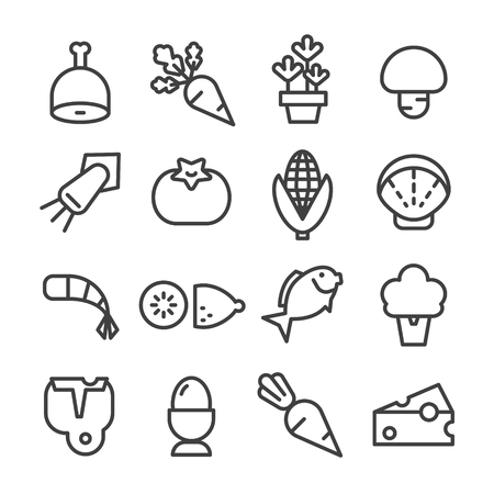 food ingredients line icon set vector raw material vegetable Ilustração