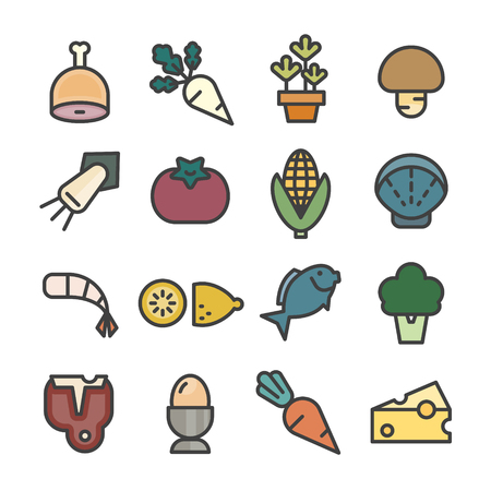food ingredients line icon set vector raw material vegetable Illustration