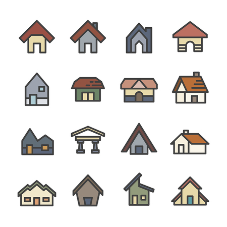 house home line icon set