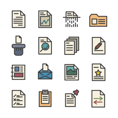 document data paper line icon set