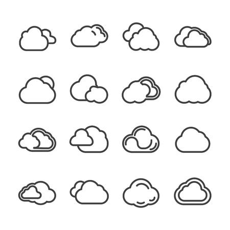cloud line icon vector set 矢量图像