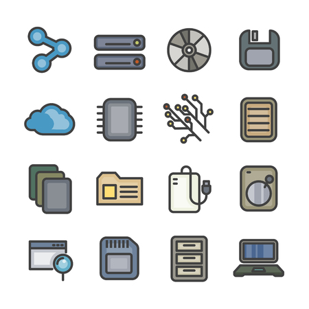 data computer storage line icon vector set