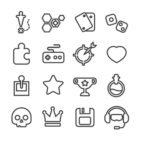 game puzzle line icon vector set 矢量图像