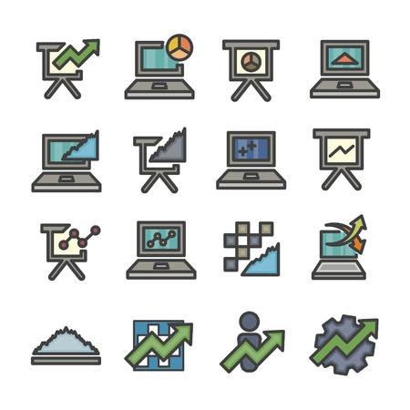graph infographic data analysis chart computer line icon set vector Ilustração