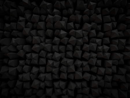 abstract 3d black background Pyramid shaped small scattered for modern technology render. top view Imagens