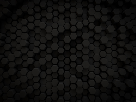abstract 3d black background hexagon honey comb shaped small scattered for modern technology and business render.