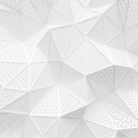 abstract white low poly background hole mesh triangle pattern 3d render. blank empty backdrop with copy space technology modern future business style concept. Imagens