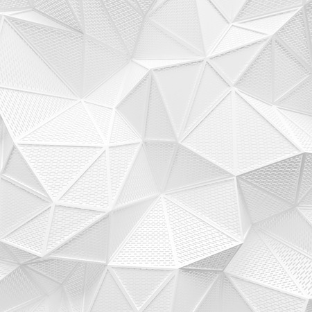 abstract white low poly background hole mesh. chamfer rectangular pattern 3d render. blank empty backdrop with copy space technology modern future business style concept.